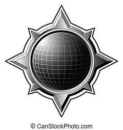 acier, rose, globe, noir, compas, intérieur