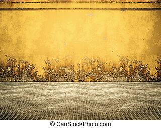 acier, rouillé, vide, jaune, salle