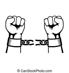 acier, rupture, chaîne, mains
