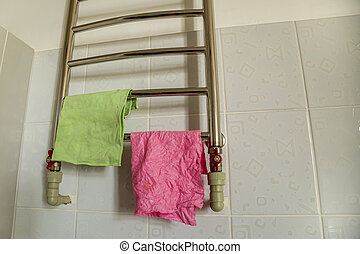 acier, salle bains, serviette, shelf., sécher, rail, chauffage, morceaux, tissu, sans tache, étagère, radiator.