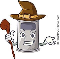 acier, salle, sorcière, boîte, déchets ménagers, dessin animé