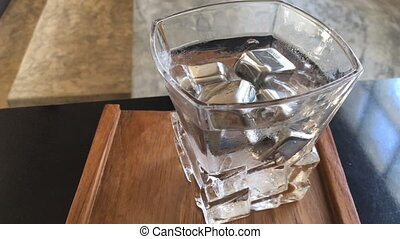 acier, sans tache, boisson, glace, frais, cube, eau