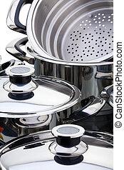 acier, sans tache, casseroles