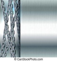 acier, sans tache, chaîne métal, arrière-plan.