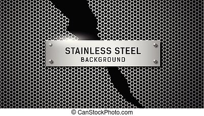 acier, sans tache, déchiré, vecteur, arrière-plan noir