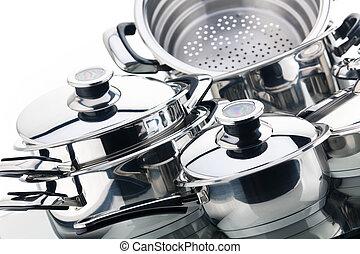 acier, sans tache, ensemble, casseroles