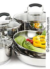 acier, sans tache, légumes, pots, casseroles