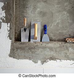 acier, sans tache, truelle, spatule, construction, outils