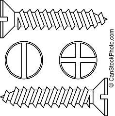 acier, sans tache, vecteur, screw., illustration.