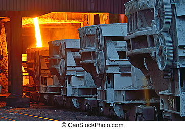 acier, seaux, métal, transport, fondu