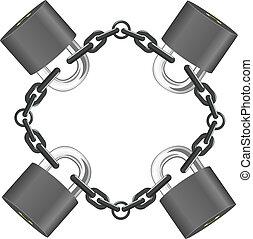 acier, serrures, vecteur, chaîne