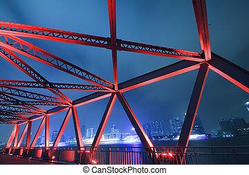 acier, structure, pont, gros plan, soir, paysage