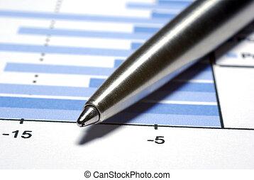acier, stylo, macro., financier, concept.