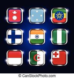 acier, tonga, ensemble, algérie, scintillement, ), (, népal, inde, quadrangulaire, micronésie, boutons, ethiopie, drapeaux, monaco, finlande, mondiale, nigeria, verre, frontière