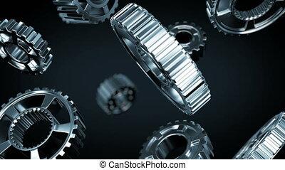 acier, uhd, fait boucle, gearwheels, business, fonctionnement, animation., process., dof, seamless, résumé, tourner, blur., collaboration, 4k, tomber, technologie, concept., 3840x2160., 3d
