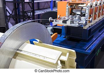 acier, usage, processus, sans tache, rouleau, machine, prêt, rouler, bobine, froid, ;