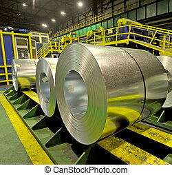 acier, usine, intérieur, bobines