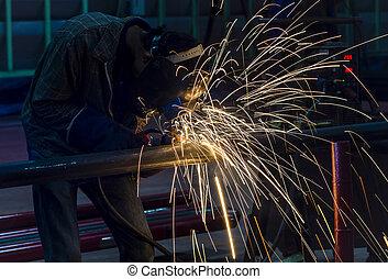 acier, usine, structure, soudure