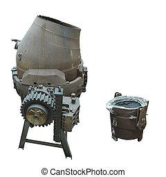 acier, verser, industriel, sur, isolé, équipement, production, blanc, convertor