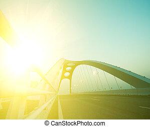 acier, ville, pont, moderne, fond, nuit