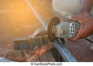 acier, workplace., outillage, découpage, technicien