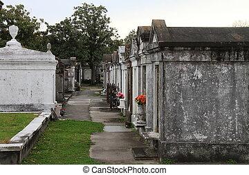 acima, chão, cemitério, nova orleães