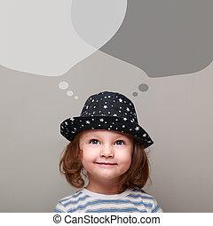 acima, pensando, cima, olhar, conversa, bolhas, criança, feliz