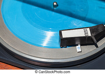 acima, vista, de, headshell, ligado, azul, flexi, disco