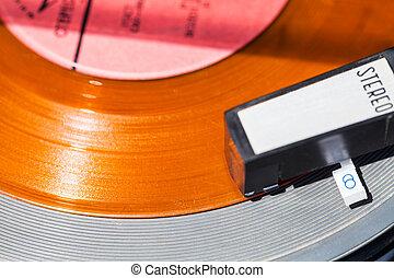 acima, vista, de, headshell, ligado, laranja, registro vinil