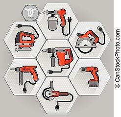 acione ferramenta, set., vetorial, ilustração