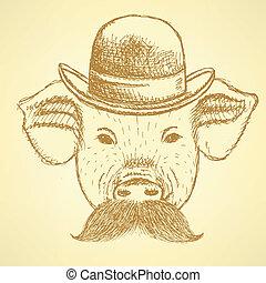 ackground, kapelusz, wektor, mustche, rys, świnia