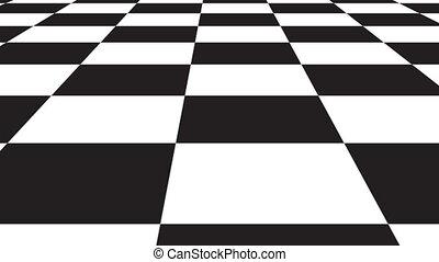 ackground, modèle, échiquier, en mouvement, design., blanc, noir, perspective, géométrique