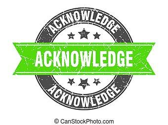 acknowledge, postzegel, meldingsbord, etiket, ronde, ribbon.