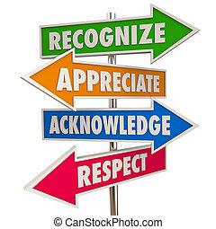 acknowledge, reconocer, ilustración, aprecio, señales, ...
