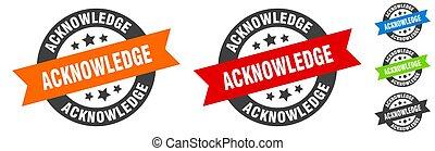 acknowledge, ronde, label, lint, sticker., stamp.