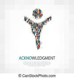 acknowledgement people sign - Isometric set of styles,...