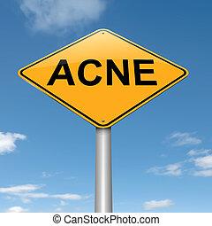 acné, concept.