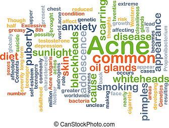 acné, concept, fond