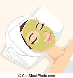 acné, masque, traitement, facial