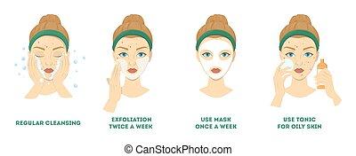 acne, faccia, passi, trattamento, detergente, cura