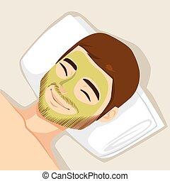 acne, máscara, tratamento, facial
