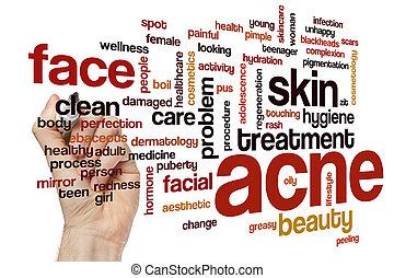 acne, palavra, nuvem