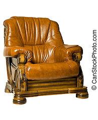acogedor, antigüedad, sillón cuero