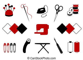 acolchado, costura, labor de retazos, iconos