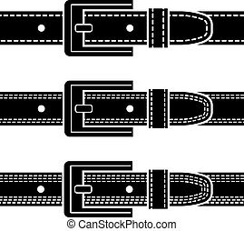 acolchado, hebilla, símbolos, vector, cinturón negro