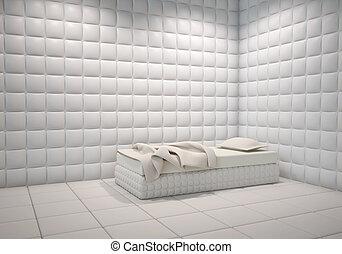 acolchado, hospital, mental, habitación