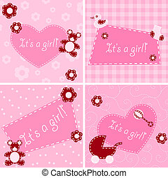 acolchoado, anúncio nascimento, cartões, para, um, menina