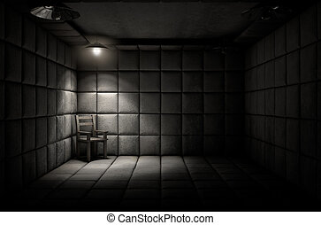 acolchoado, célula, cadeira, vazio