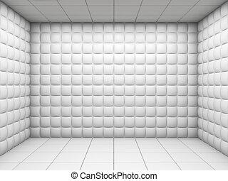acolchoado, quarto branco, vazio
