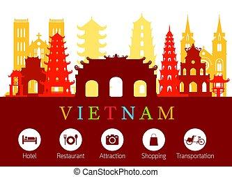 acomodação, marcos, vietnã, skyline, ícones